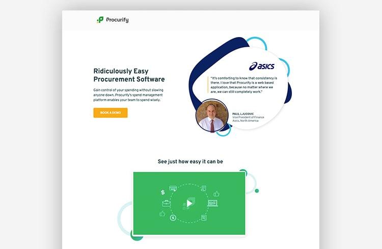 SaaS Landing Page Example - Procurify (Video Ad)