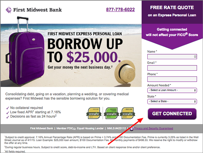 Purple CTA Button Landing Page