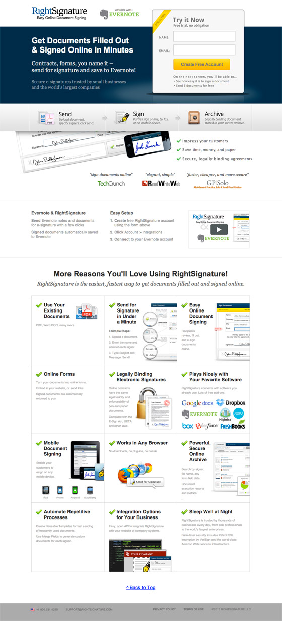 RightSignature landing page design