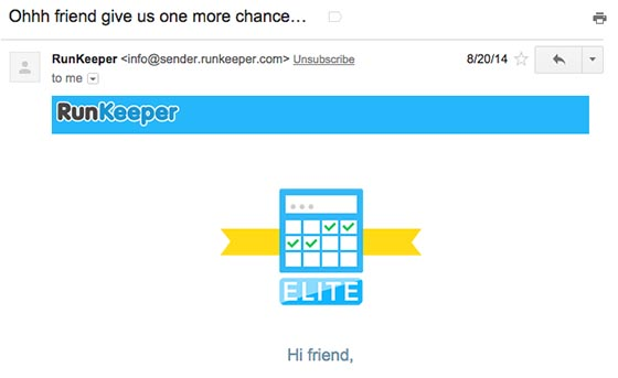 Behavioral E-Mail von RunKeeper
