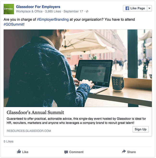 Glassdoor facebook ad example critique