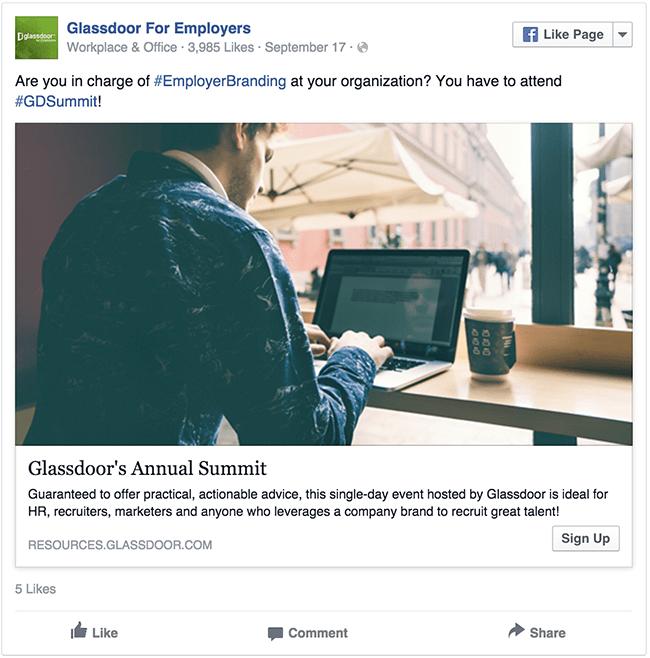 Glassdoor facebook ad example critique