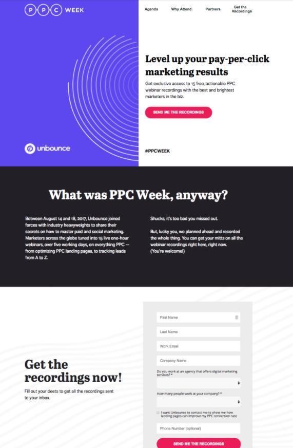 PPC week landing page