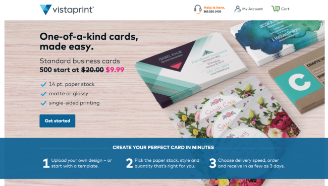 Improve your AdWords Quality Score with landing pages like Vistaprint's here.