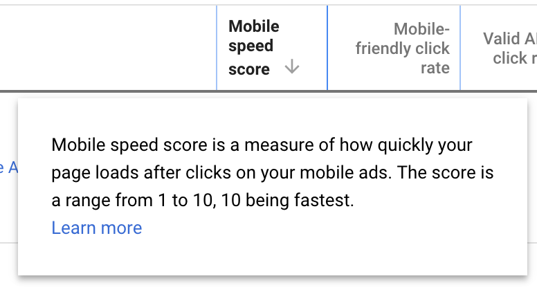 Access your landing page speed score in a new column
