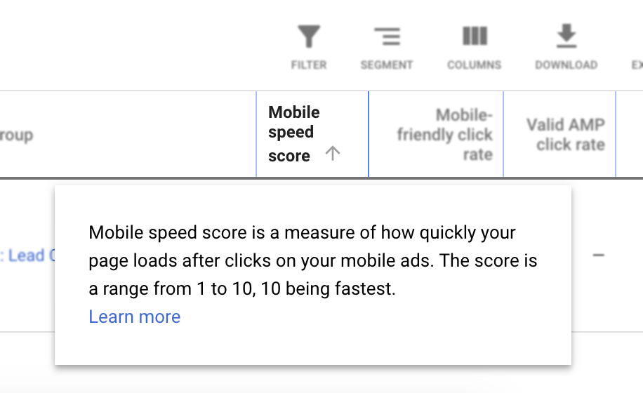 Example of Mobile Speed Score (image)