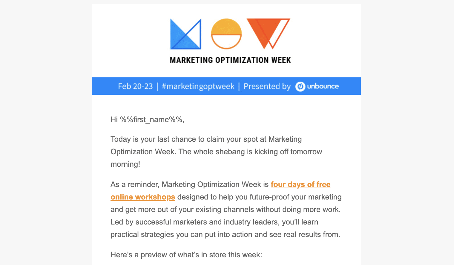 A Webinar Promo Email Example