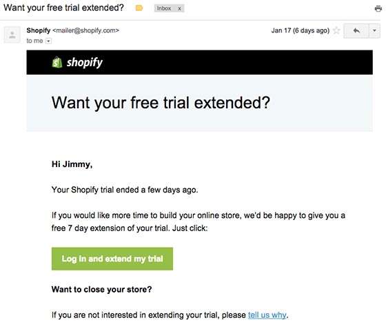 Behavioral E-Mail von Shopify
