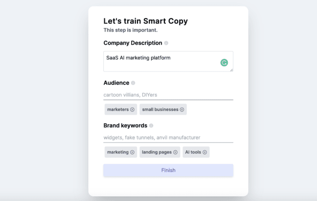 Screen shot of Smart Copy user experience: creating a company profile