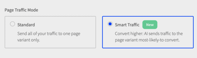 Screen shot of Smart Traffic user experience: button that turns Smart Traffic on