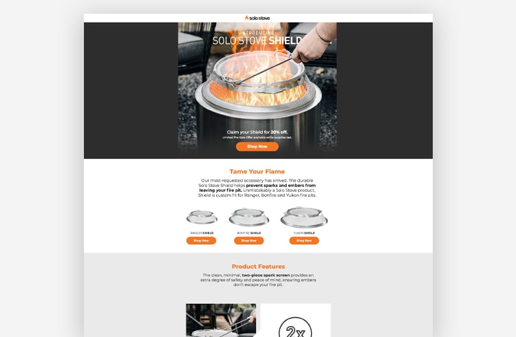 Ecommerce Landing Page: Solo Stove