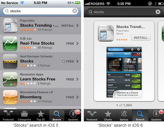 Stocks ios5 and 6