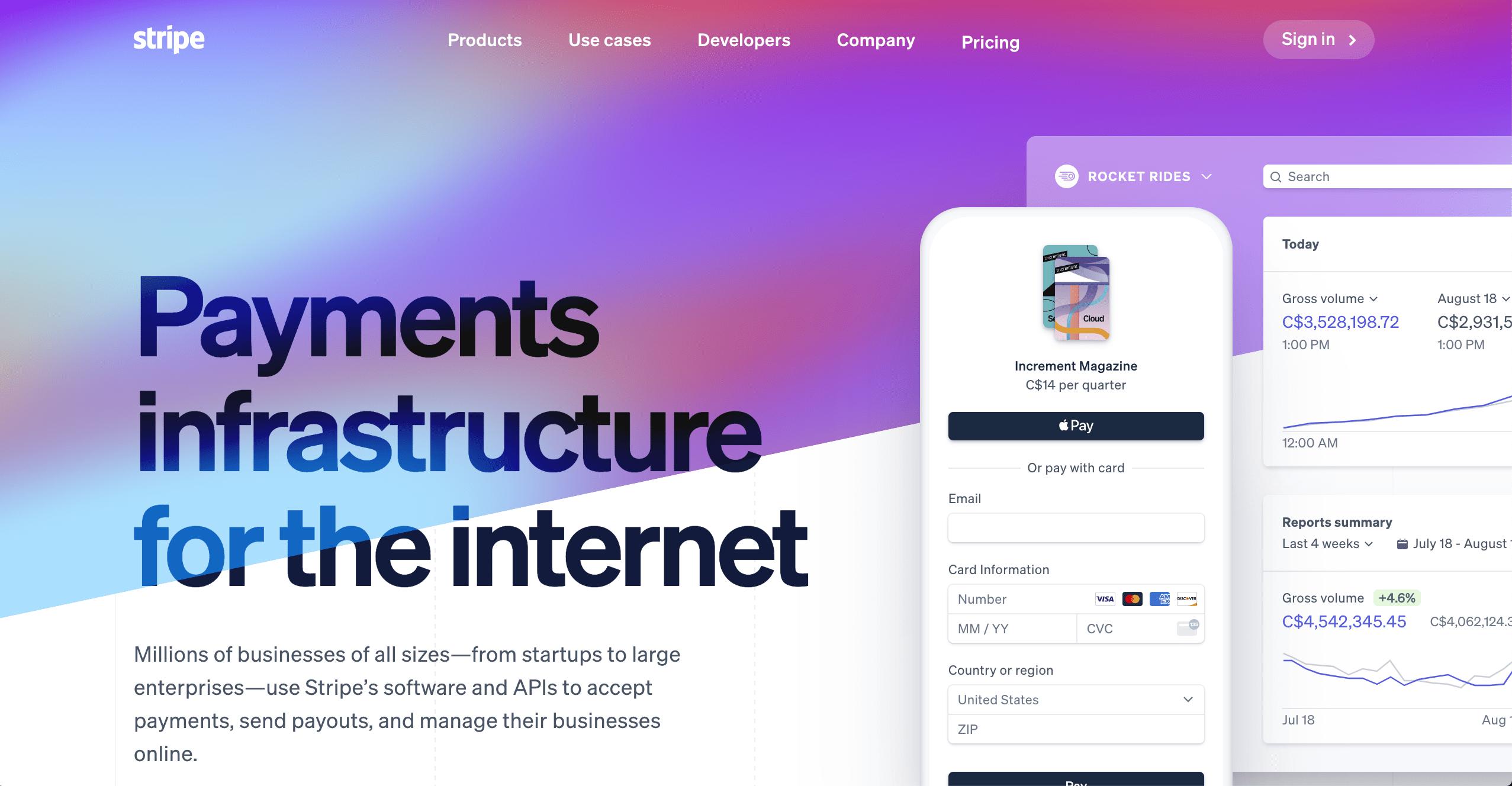 Landing Page Ideas - Stripe