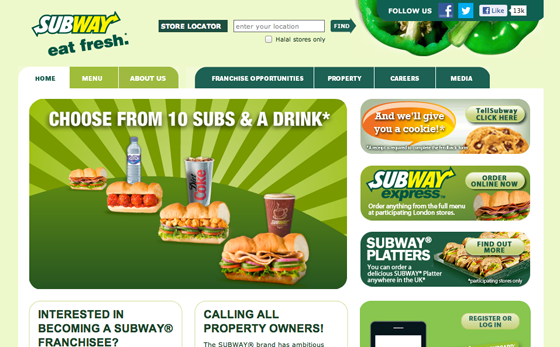 Subway Landing Page Colors