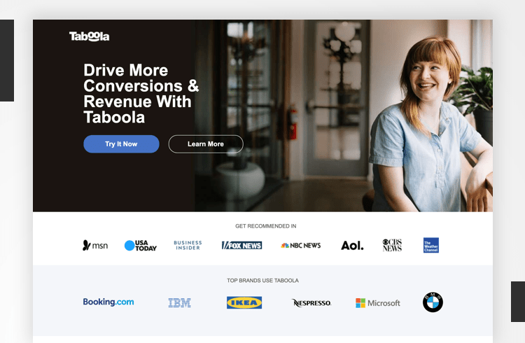 Facebook Landing Page Examples - Taboola