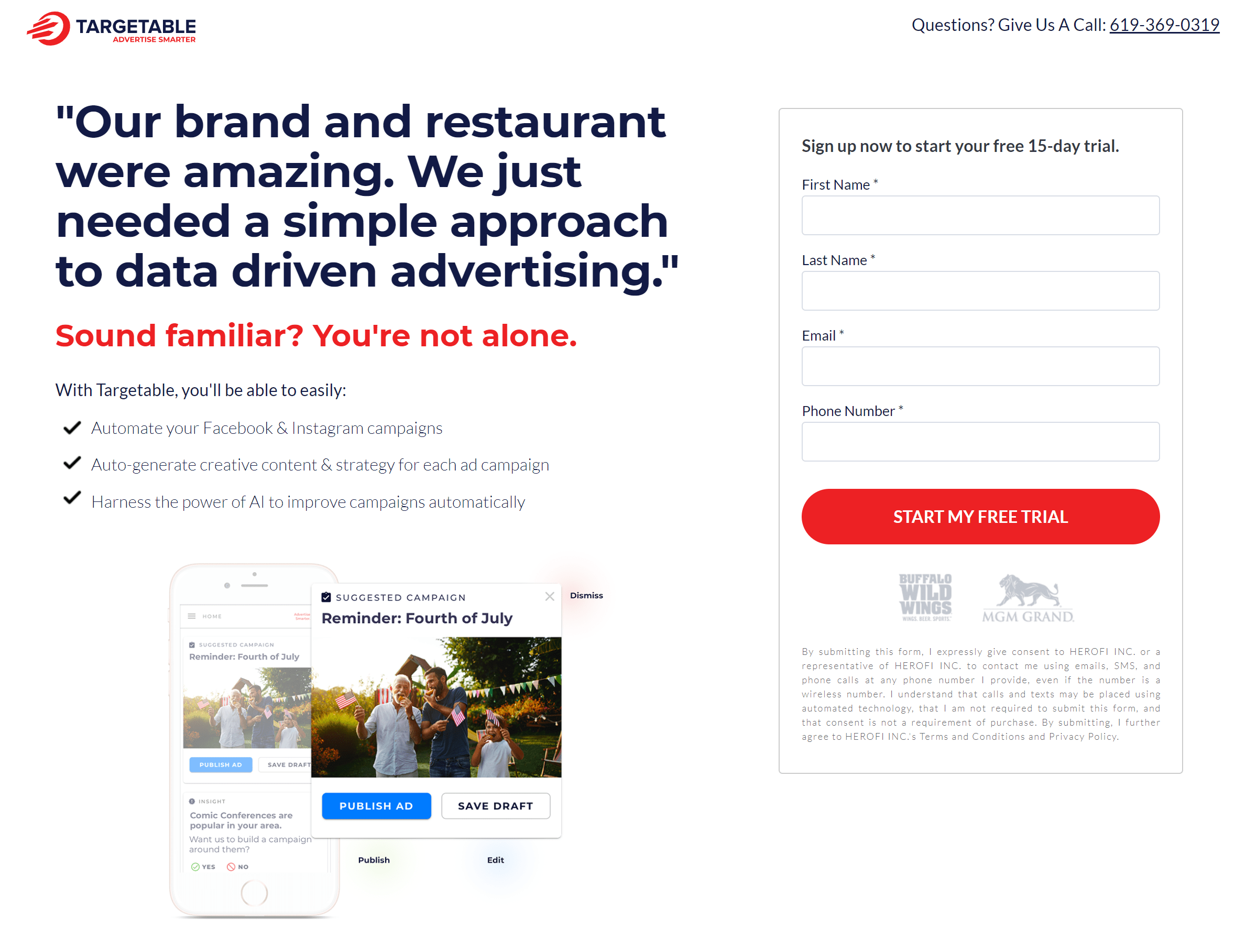 Targetable sign up pages with testimonials