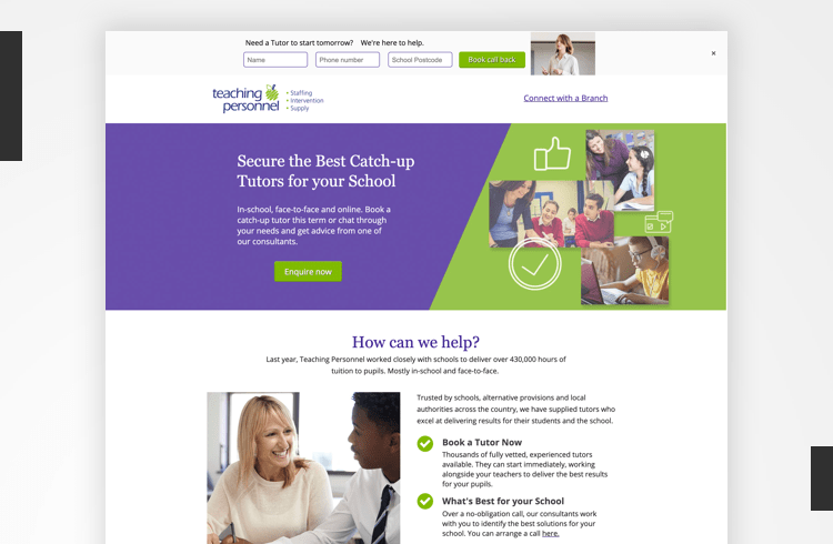 Twitter Landing Page Examples - Teaching Personnel