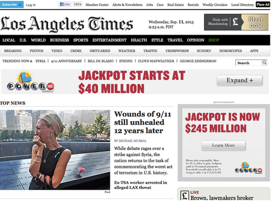 The Los Angeles Times above the fold