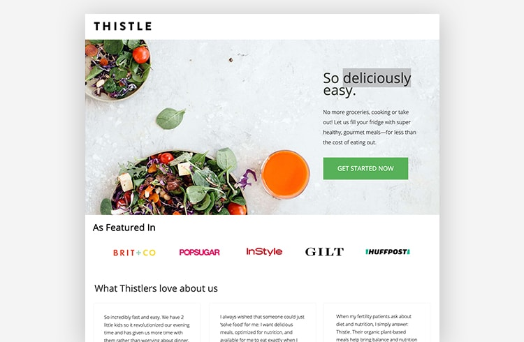 Ecommerce Landing Page: Thistle
