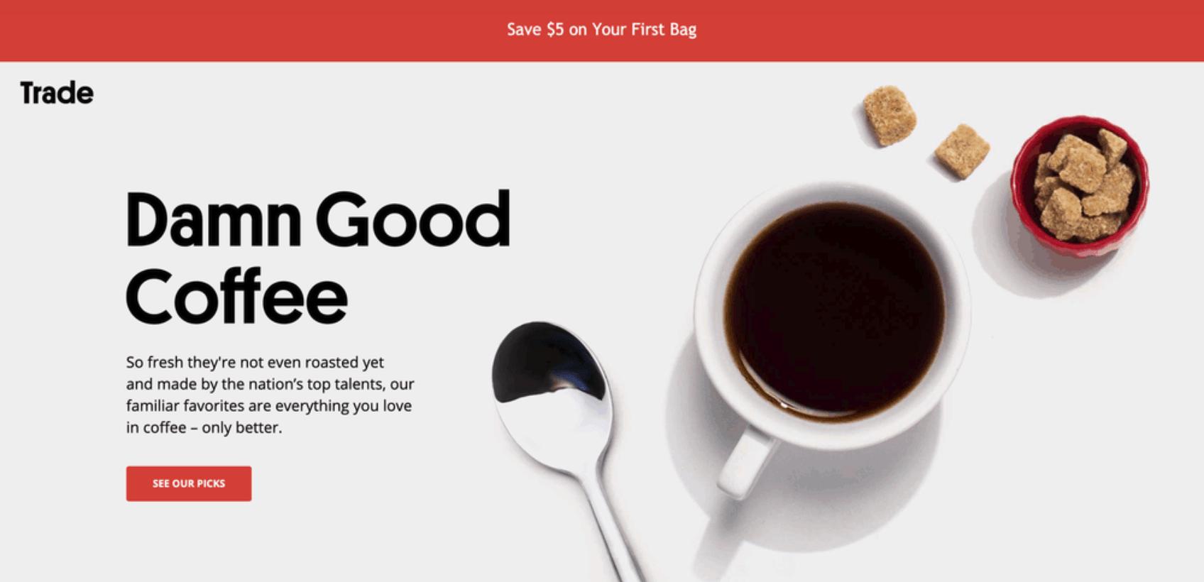 Landing Page Ideas - Trade Coffee