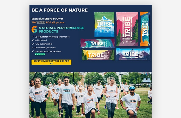 Ecommerce Landing Page: TRIBE
