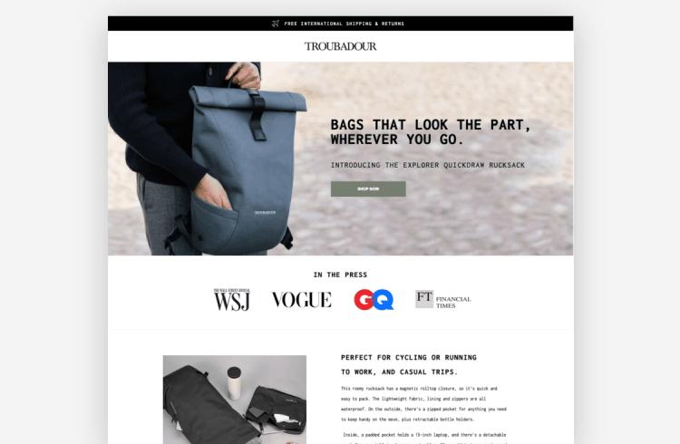 Ecommerce Landing Page: Troubadour
