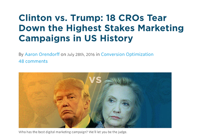 Clinton vs. Trump presidential tear down post