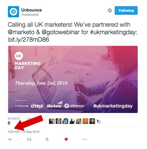 UK Marketing Day promo tweet