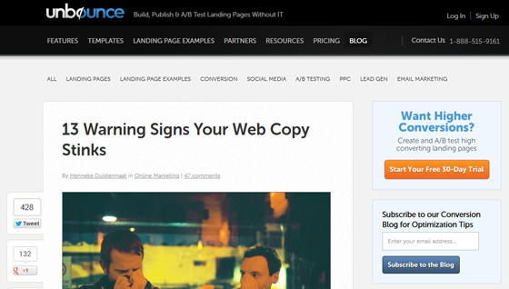 Unbounce Blog Email Strategy