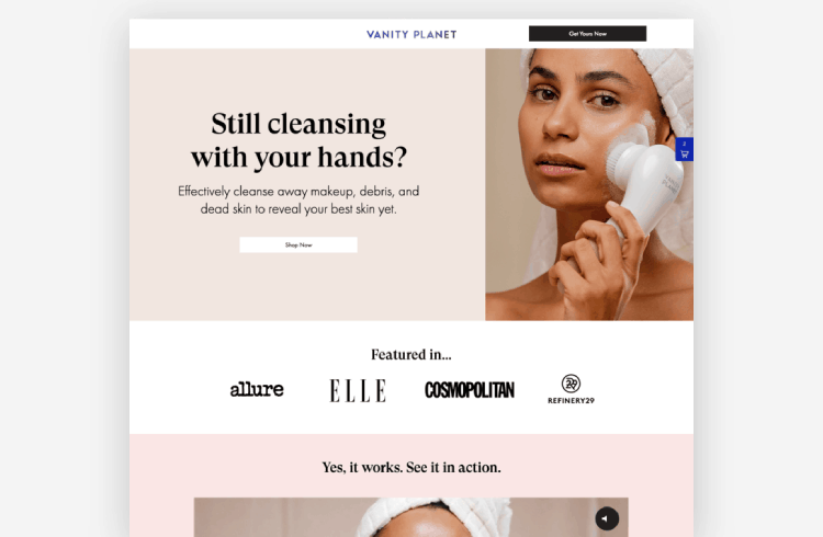 Ecommerce Landing Page: Vanity Planet