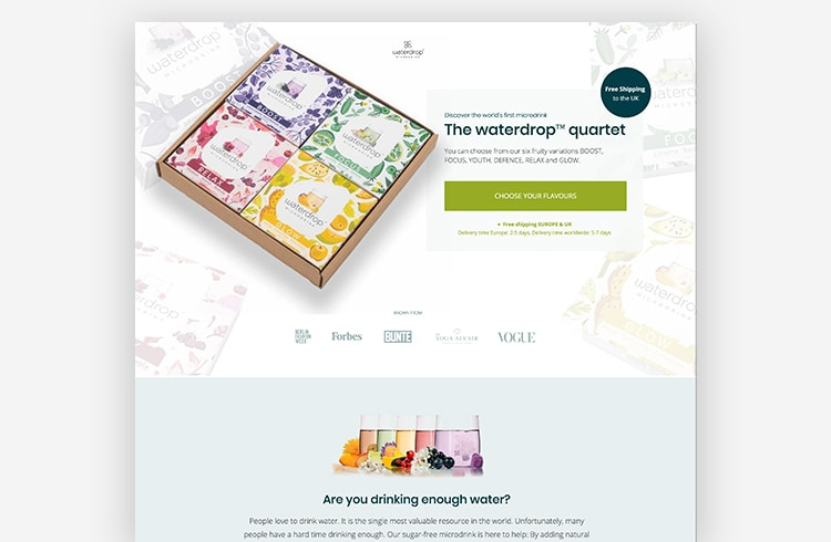 Ecommerce Landing Page: Waterdrop