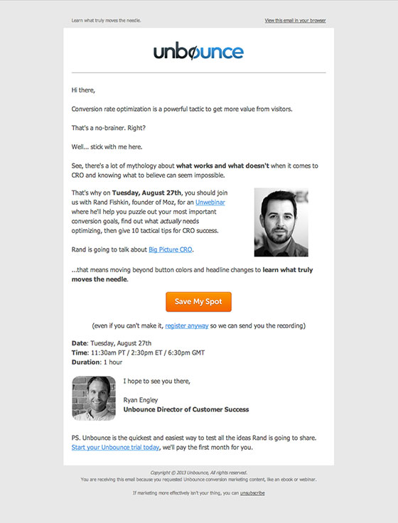 Webinar Marketing - The Invite Email