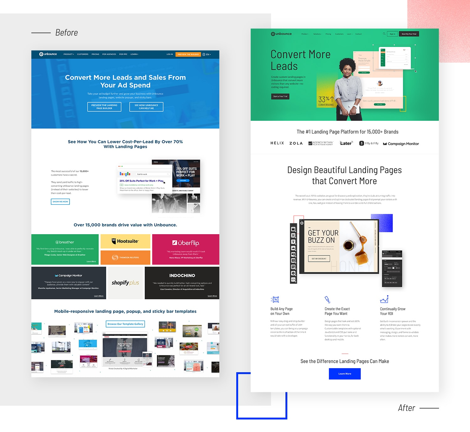 Unbounce Brand - Website Comparison