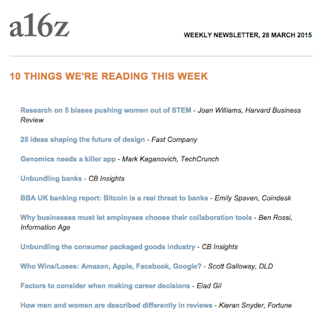 a16z Newsletter - Easy to Scale
