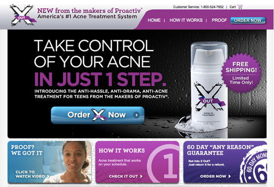 acne product landing page - above the fold