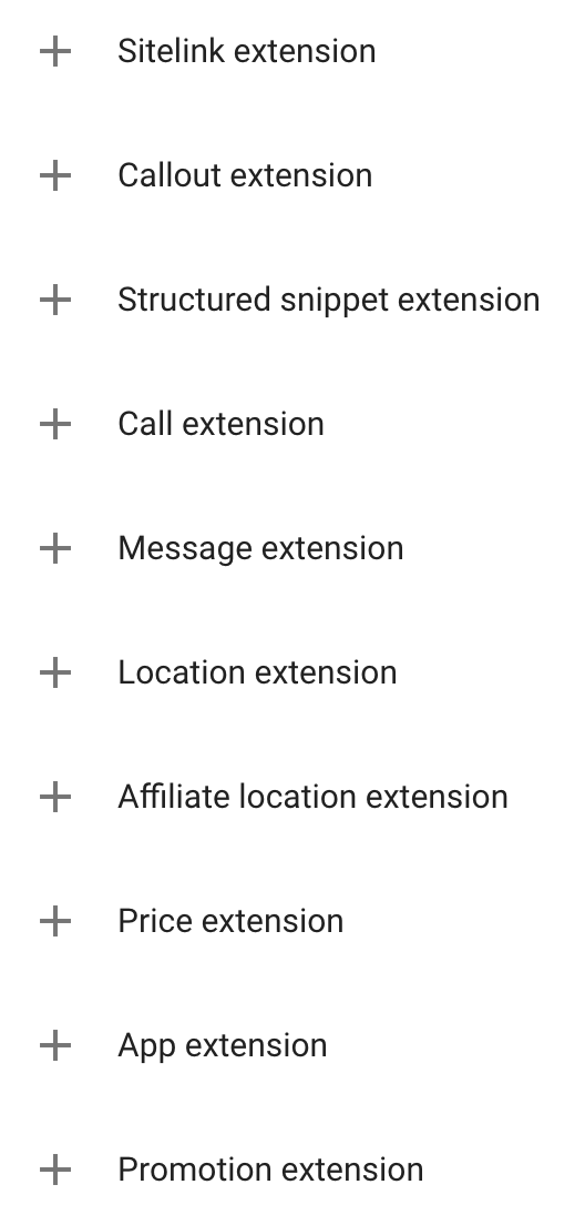 A list of Google's ad extensions