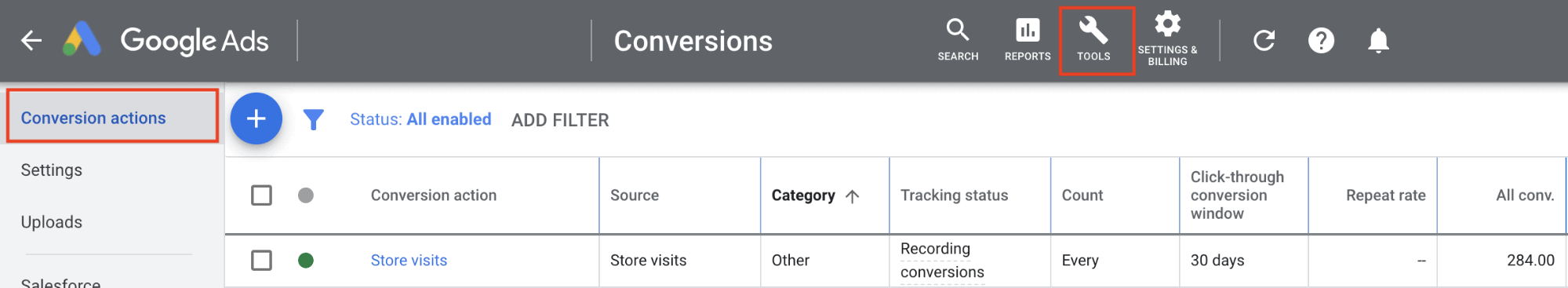 ads conversion actions