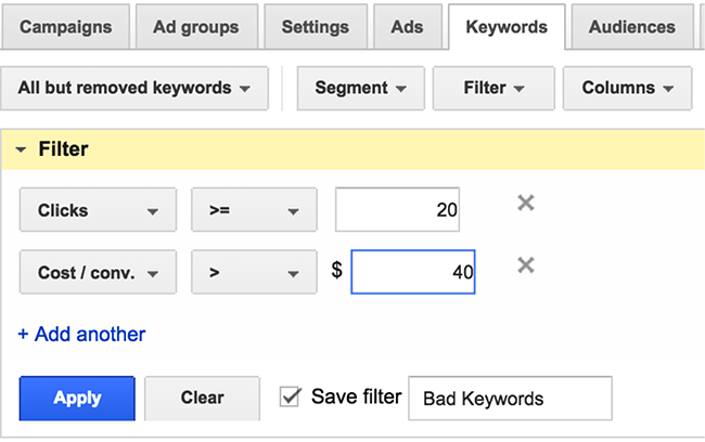 adwords-custom-filters