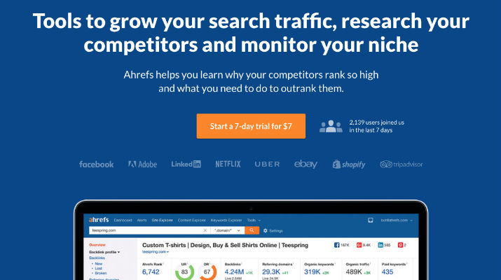 Ahrefs pricing page