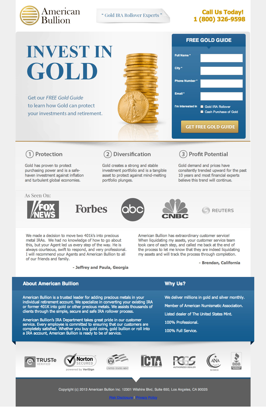 creative landing page design examples a showcase and critique american bullion landing page example