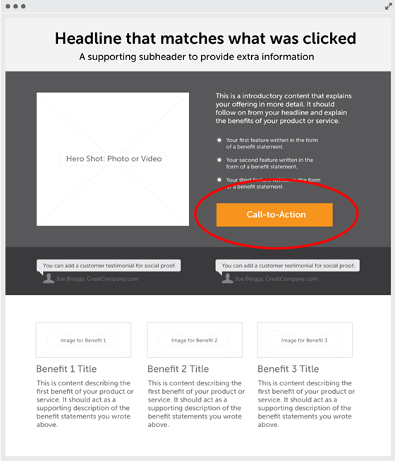 Attention ratio on a landing page