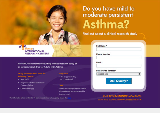 Asthma Landing Page; A Good Example of a Landing Page Which Works