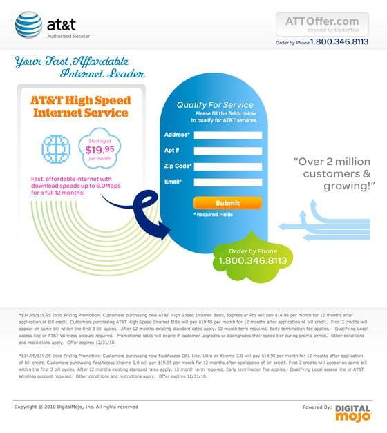AT & T landing page