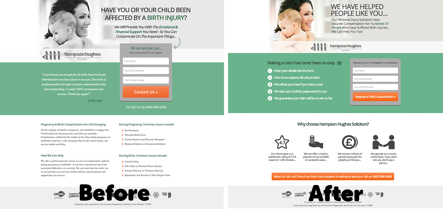 Stuart Harrision landing page example (before and after)