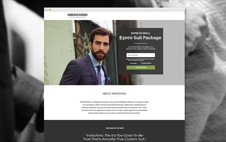 lead gen landing page example from Indochino