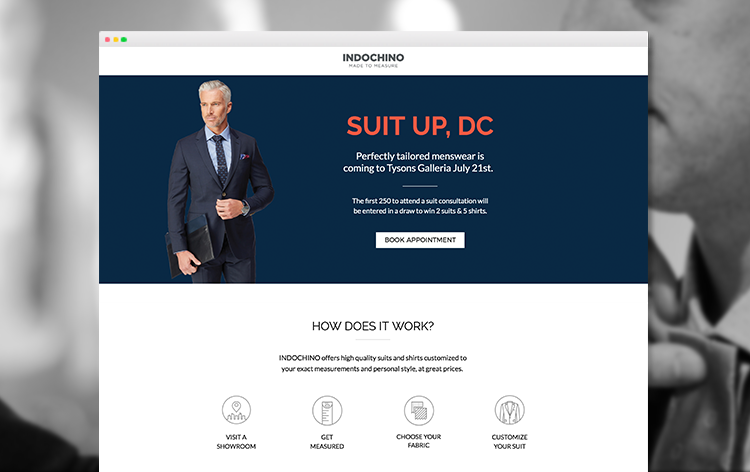 Indochino's DC showroom landing page example