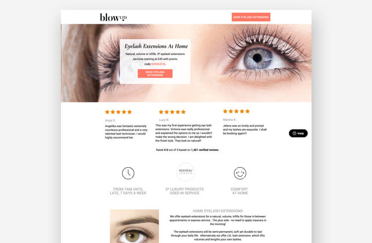 Best landing page examples: Blow LTD