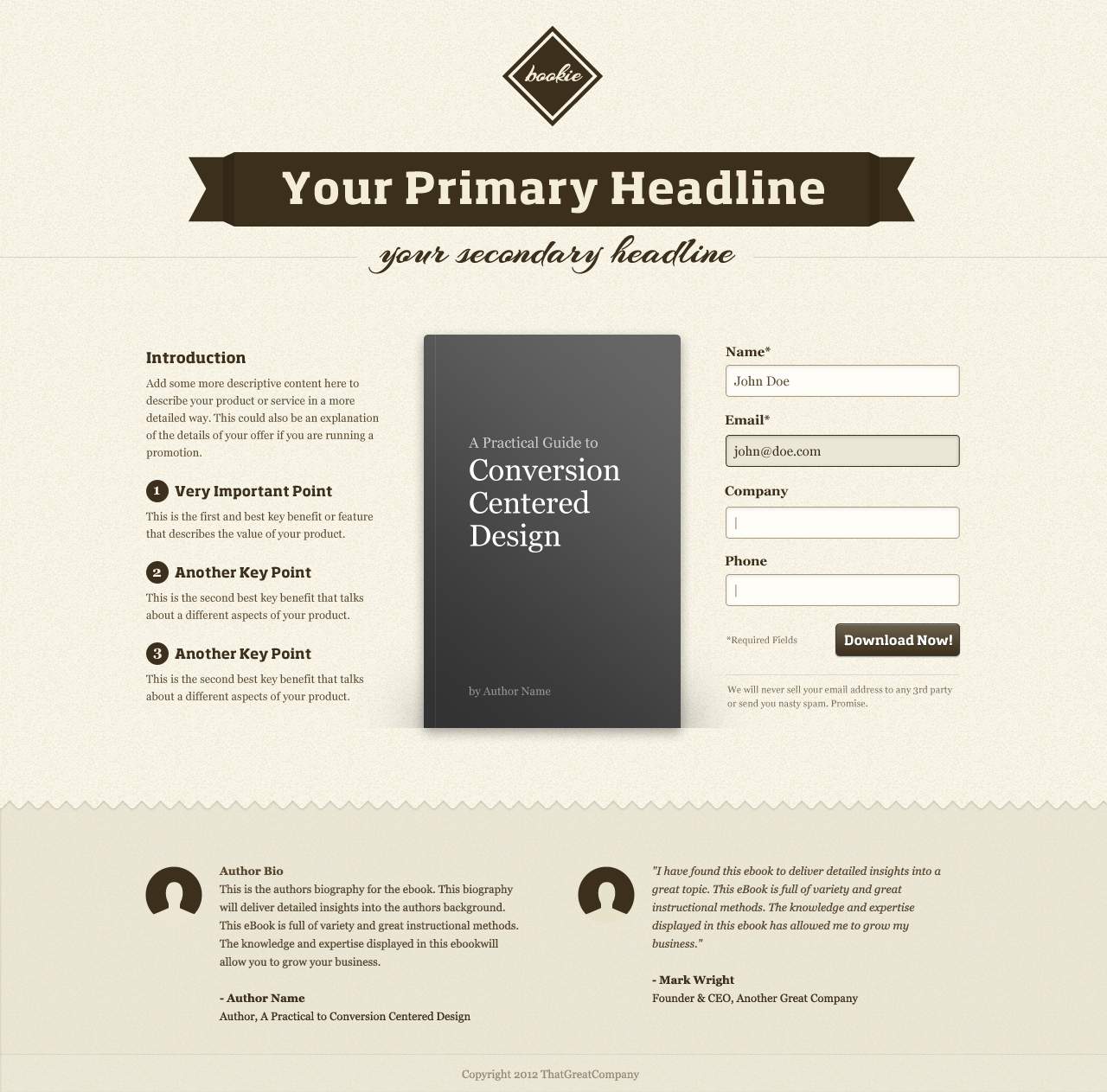 Landing Page Template  Point Of Contact Template