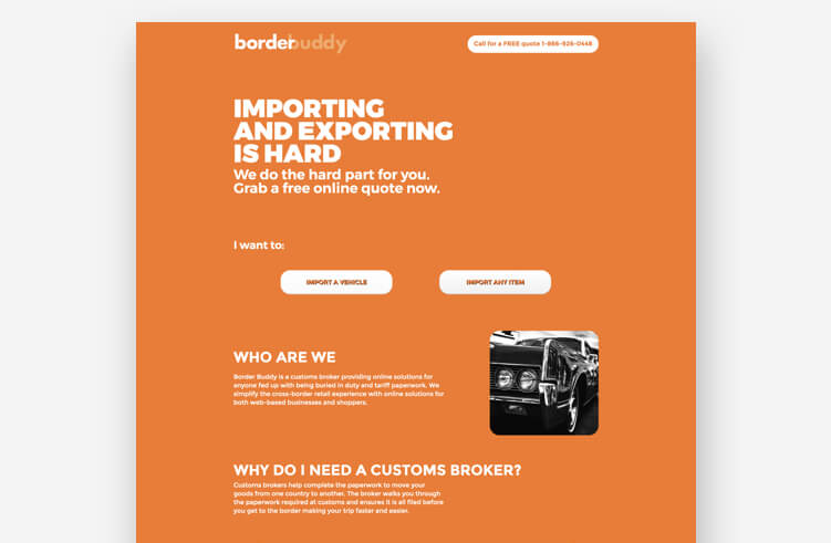 Best landing page examples: Border Buddy