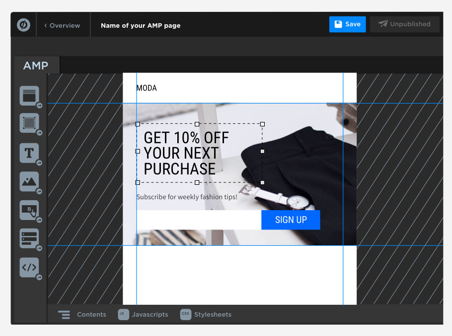 Build an AMP page in Unbounce in our beta